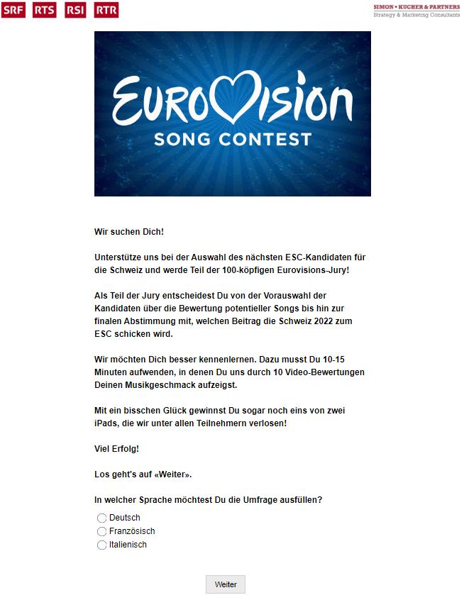Eurowizja 2022, Szwajcaria, aplikacja