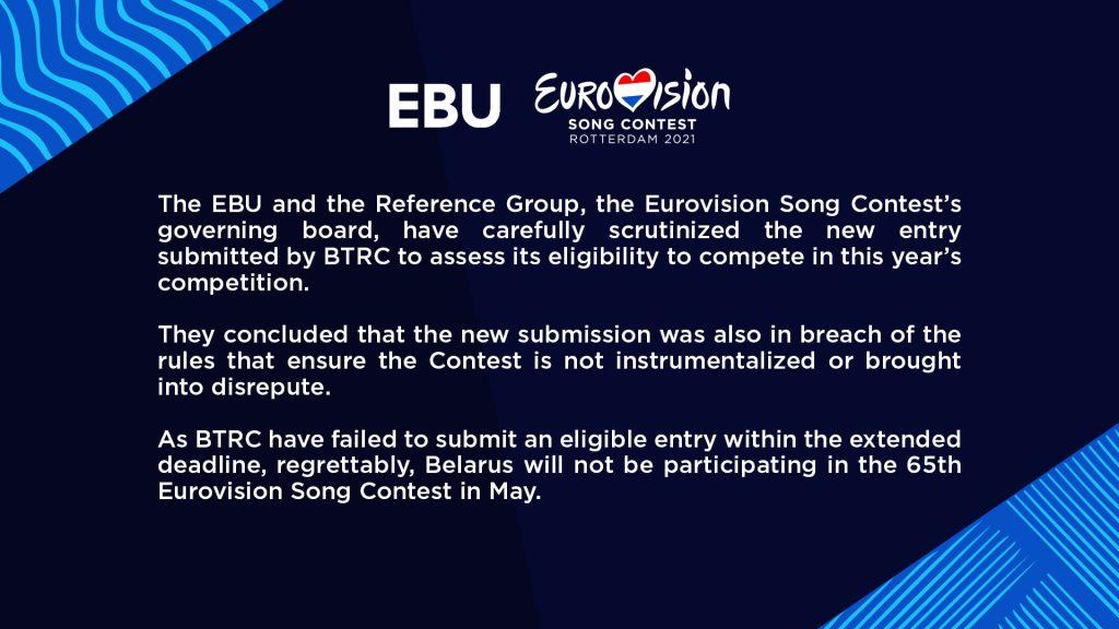 Eurowizja 2021 bez Białorusi