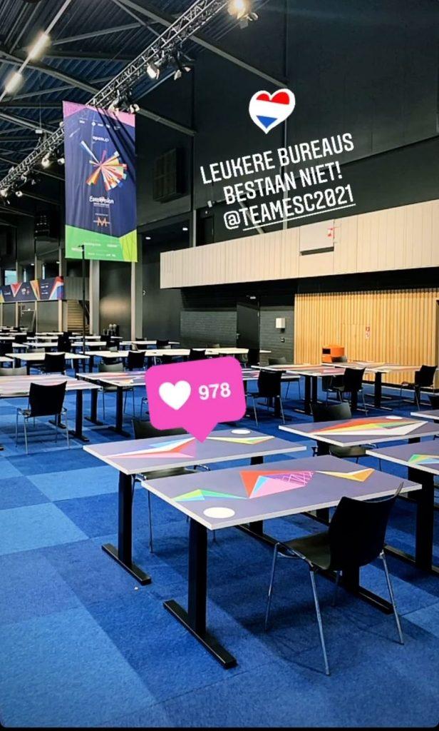 Eurowizja 2021, Rotterdam, scena, oświetlenie, kamery, ekran LED, budowa, press centre