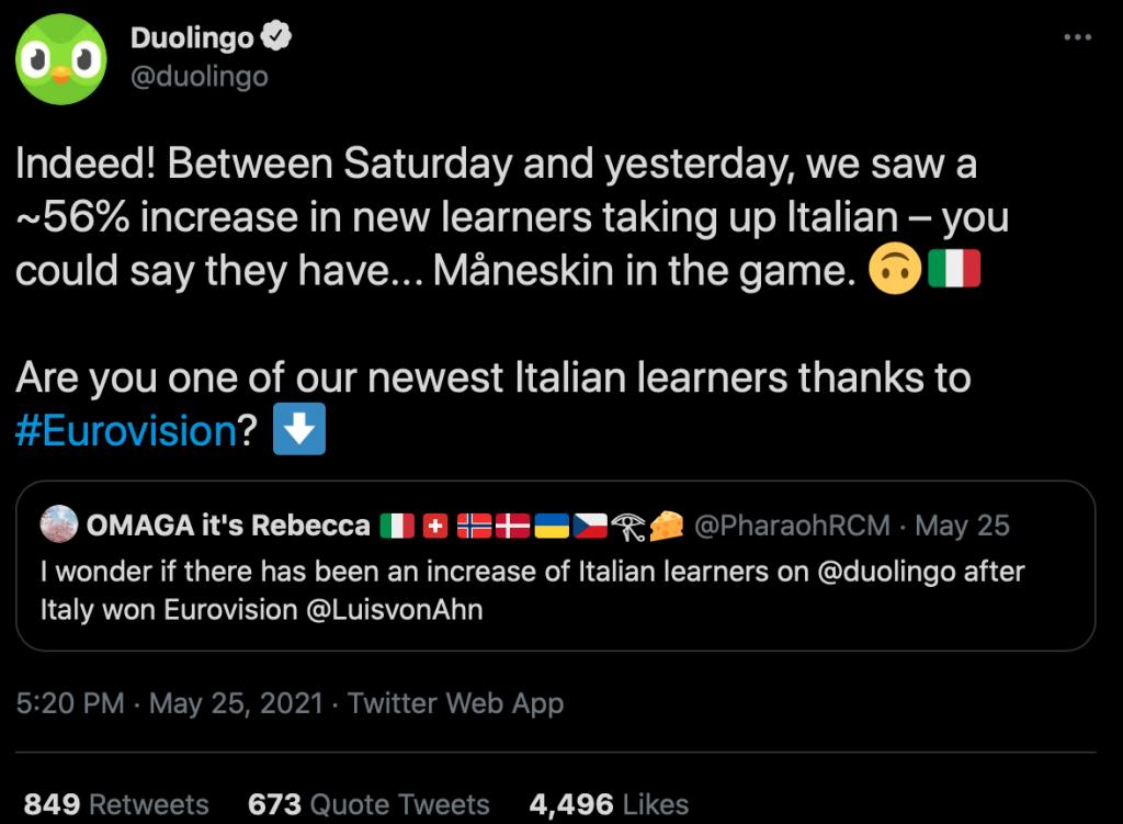 Eurowizja, Duolingo